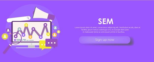Baner marketingowy w wyszukiwarkach. komputer z obiektem, diagramem, ikoną użytkownika.