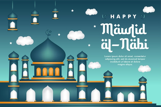 Baner mawlid al-nabi narodziny proroka na tle meczetu