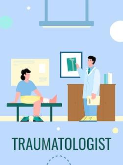 Baner medycyny traumatologicznej z lekarzem traumatologiem
