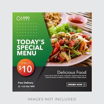 Baner menu kulinarnego żywności dla szablonu postu w mediach społecznościowych