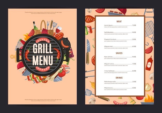 Baner menu z grillem do restauracji