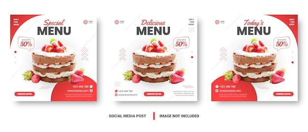 Baner menu żywności post w mediach społecznościowych. edytowalne szablony mediów społecznościowych do promocji w menu food. zestaw opowiadań w mediach społecznościowych i ramek postów. projekt layoutu do marketingu w mediach społecznościowych.