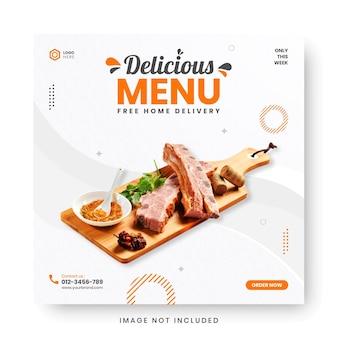 Baner menu żywności post w mediach społecznościowych.