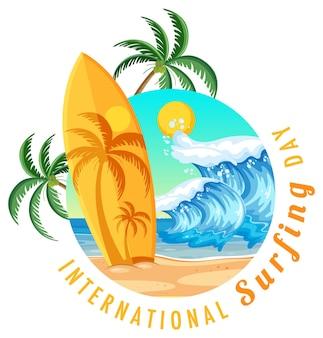 Baner międzynarodowego dnia surfingu z deską surfingową na plaży