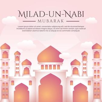 Baner miesiąca urodzenia proroka z tłem ilustracji meczetu