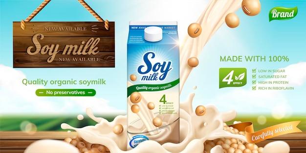 Baner mleka sojowego z rozpryskiwaniem płynu i drewniany znak wiszący w powietrzu na powierzchni zielonego pola bokeh w stylu 3d