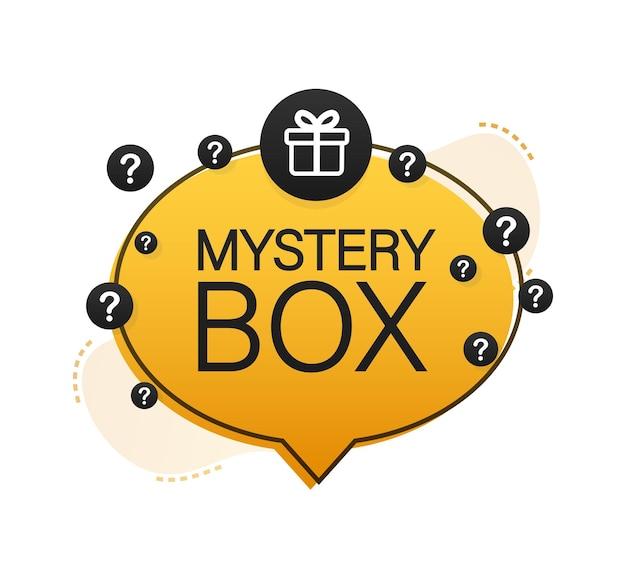 Baner mystery box opakowanie do projektu koncepcyjnego prezent niespodzianka projekt opakowania symbol pomocy