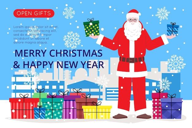 Baner na boże narodzenie i nowy rok na stronę docelową lub stronę sklepu internetowego. święty mikołaj trzyma prezenty, w tle pada śnieg. płaski obraz wektor ładny.