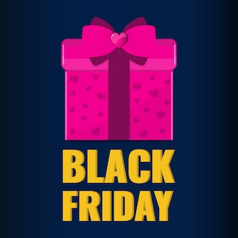 Baner na czarny piątek. różowy prezent z różową kokardką. koncepcja oferty sprzedaży.