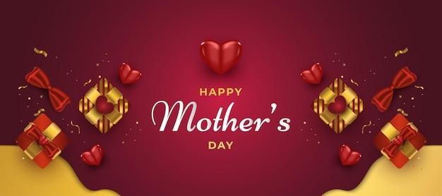 Baner na dzień matki z sercami i pudełkiem prezentowym w kolorze czerwonym i złotym.