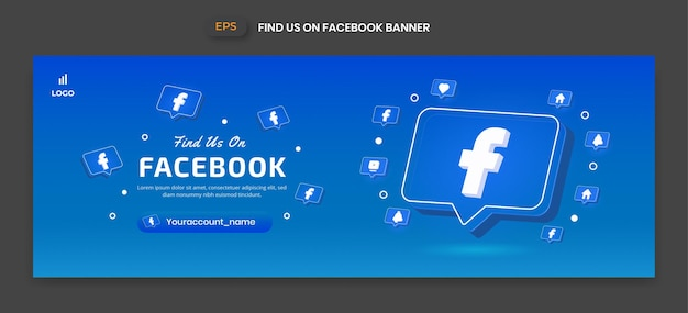 Baner na facebooku z ikoną wektora 3d do promocji strony biznesowej i postu w mediach społecznościowych