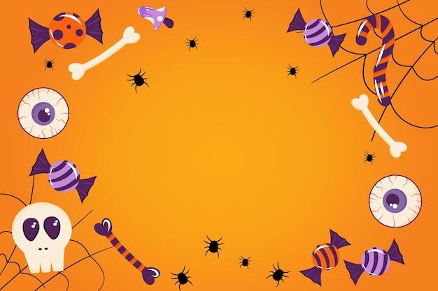 Baner na halloween pomarańczowym tle z miejscem na tekst pajęczyna cukierki kości oczy