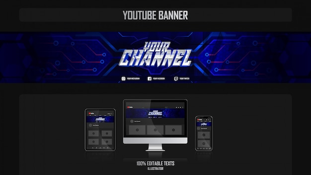 Baner na kanał youtube z koncepcją fantasy