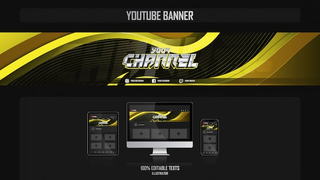 Baner na kanale youtube z koncepcją dla graczy