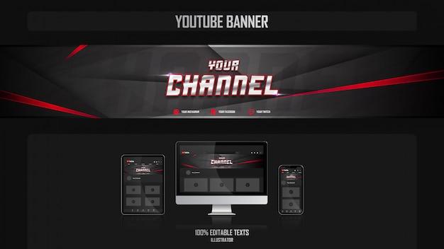 Baner na kanale youtube z koncepcją gamer