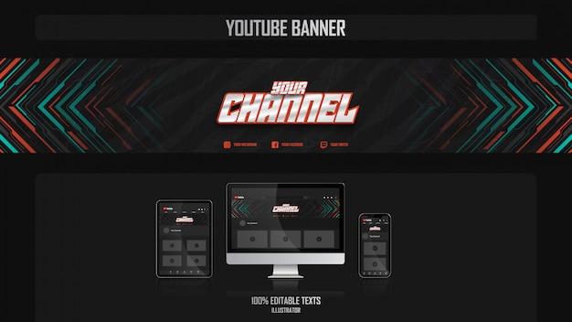 Baner Na Kanale Youtube Z Koncepcją Muzyczną Premium Wektorów