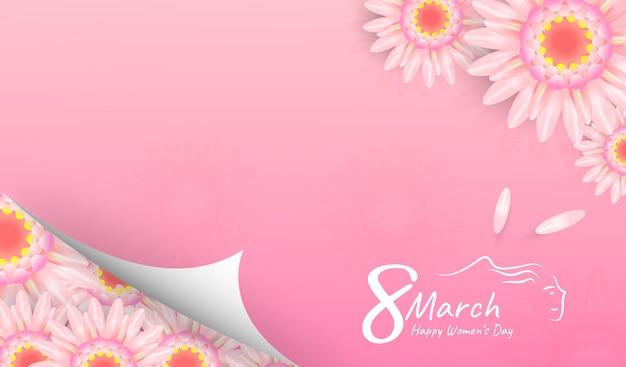 Baner na międzynarodowy dzień kobiet. 8 marca z pięknymi kwiatami na różowo