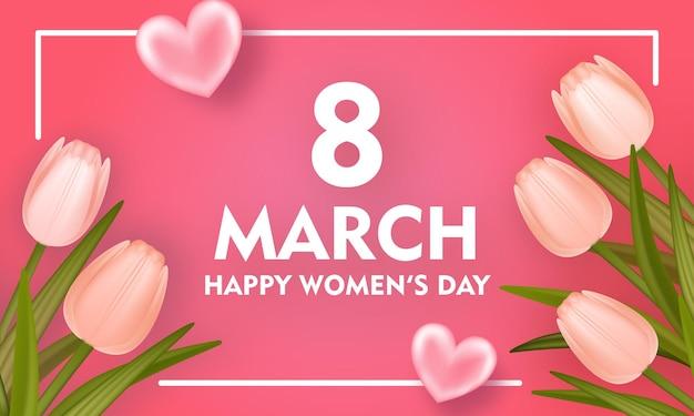 Baner na międzynarodowy dzień kobiet z realistycznymi tulipanami