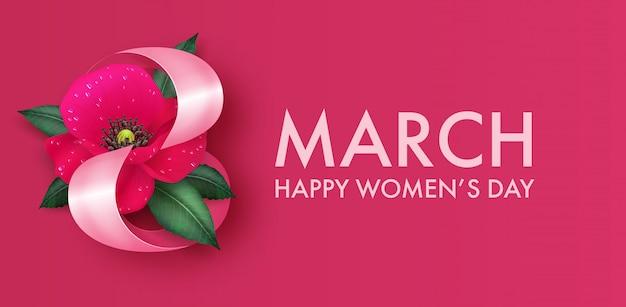 Baner na międzynarodowy dzień kobiet z wystrojem z czerwonego kwiatu maku.