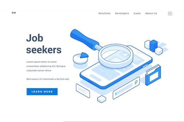 Baner na nowoczesną aplikację zatrudnienia na smartfony