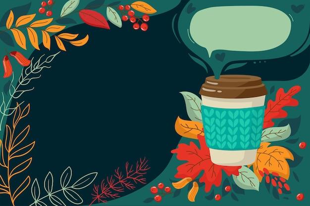Baner na promocje kawiarnia reklama ulotek sprzedaż jesienne czerwone żółte liście i filiżanka