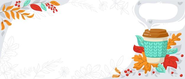Baner na promocje kawiarnia ulotka sprzedaż reklama jesienne liście i filiżanka kawy