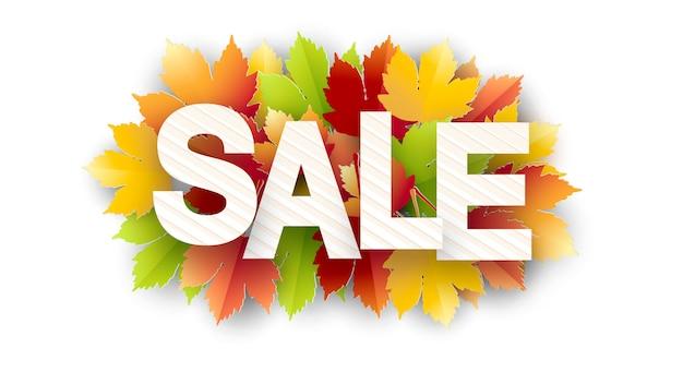 Baner na sprzedaż jesieni z kolorowymi, sezonowymi liśćmi jesiennymi na promocję rabatów. jesienna wyprzedaż.