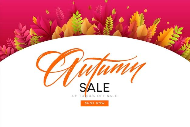 Baner na sprzedaż jesienną w ramce z liści.
