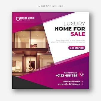 Baner na sprzedaż nieruchomości w mediach społecznościowych lub kwadratowy szablon ulotki