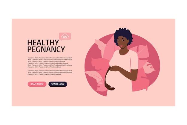 Baner na stronie ciąża i macierzyństwo. pomoc dla przyszłych matek w trakcie ciąży. ilustracja wektorowa w stylu cartoon płaski.