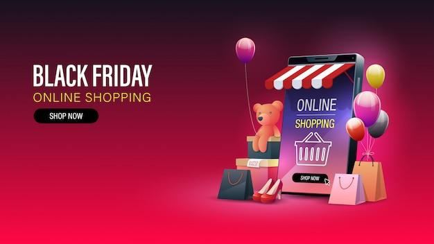 Baner na zakupy online w czarny piątek. zakupy online na telefonie komórkowym i stronie internetowej. transparent