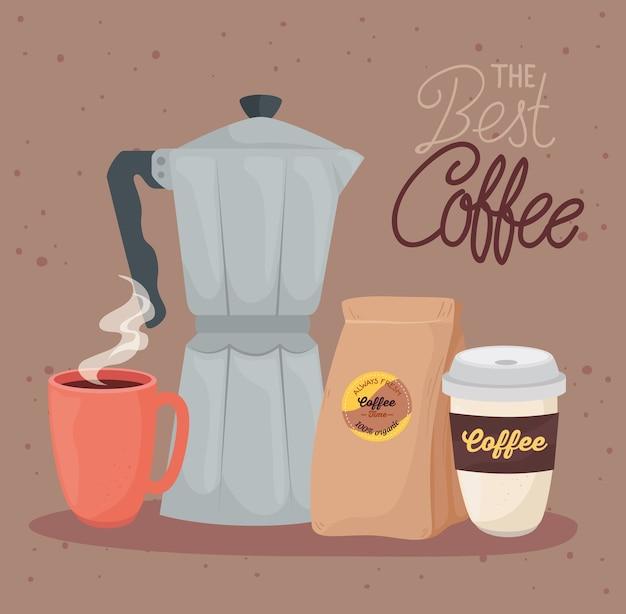 Baner najlepszej kawy z projektowaniem ilustracji zestaw ikon