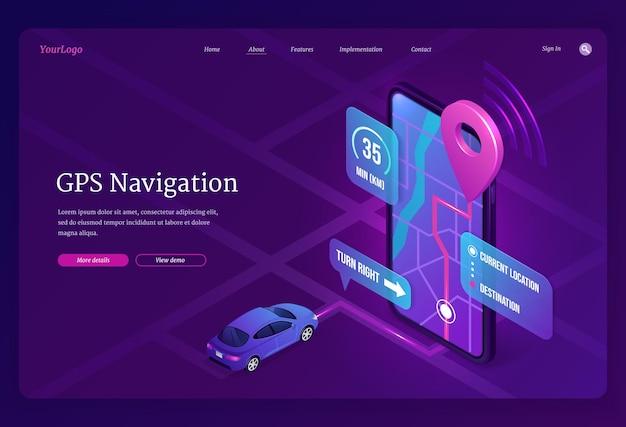 Baner nawigacji gps online usługa cyfrowa dla pojazdu z wyszukiwaniem lokalizacji na telefonie komórkowym