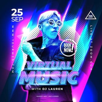 Baner night party music dla szablonu mediów społecznościowych
