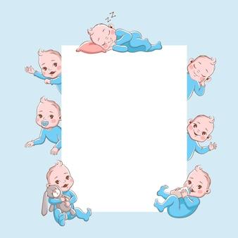Baner noworodków. kreskówka dziecko rama, niemowlę blond uśmiechający się maluch w niebieskie ubrania w różnych pozach, spanie, grając. szczęśliwe noworodka wektor ilustracja na białym tle