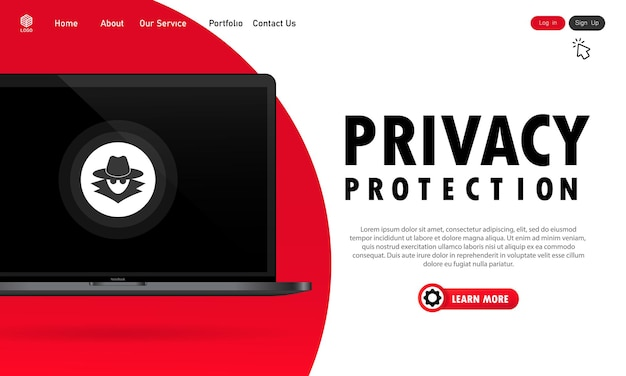 Baner ochrony prywatności laptopa