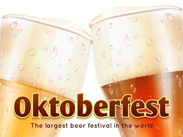 Baner oktoberfest z realistycznymi szklankami piwa na białym tle