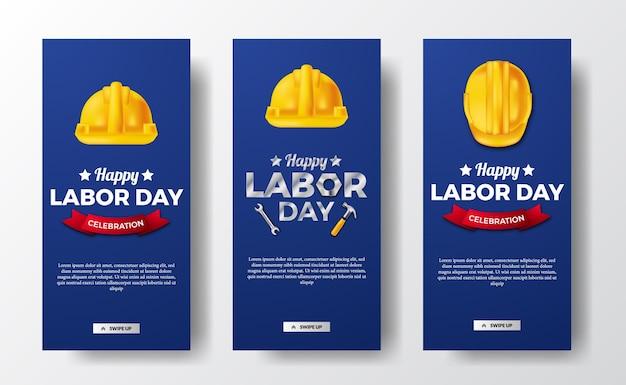 Baner opowiadań w mediach społecznościowych na dzień pracy z 3d pracownikiem żółtego kasku bezpieczeństwa