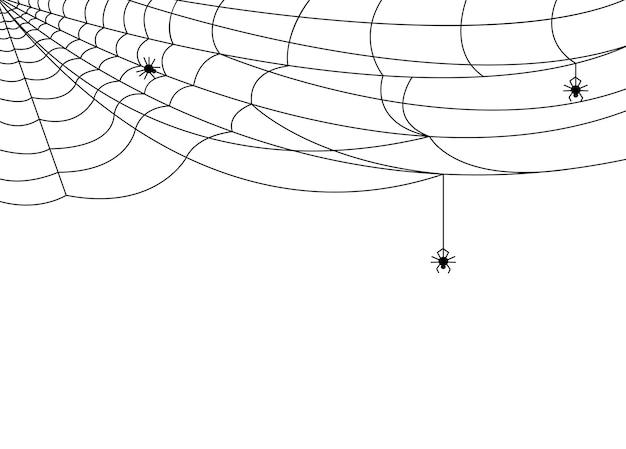 Baner pajęczyny. halloweenowa pajęczyna, czarne tło upiorny sieci. na białym tle wzór ramki, ilustracja kreskówka horror ozdoba wektor. upiorna sylwetka pajęczyny, baner z pajęczyną