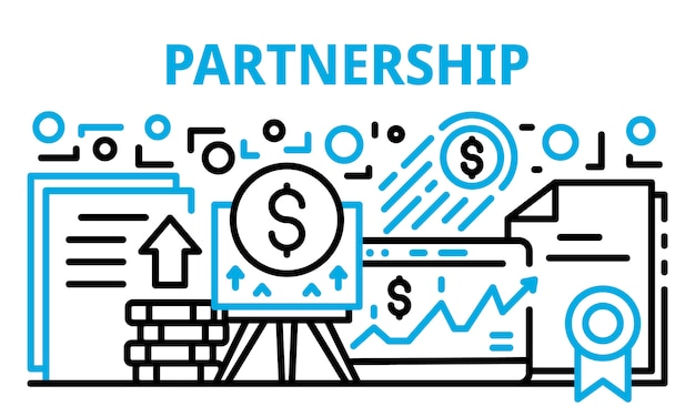 Baner partnerstwa finansów, styl konturu