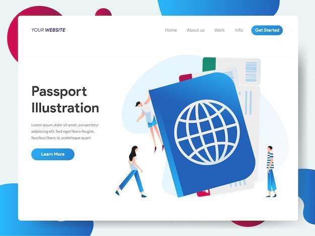Baner paszportowy dla strony docelowej pojęcia