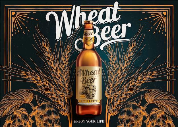 Baner piwa pszenicznego leżący na tablicy z wygrawerowanymi chmielami w stylu 3d