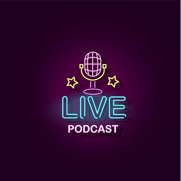 Baner podcast na żywo z ilustracją mikrofonu z efektem neonu na białym tle