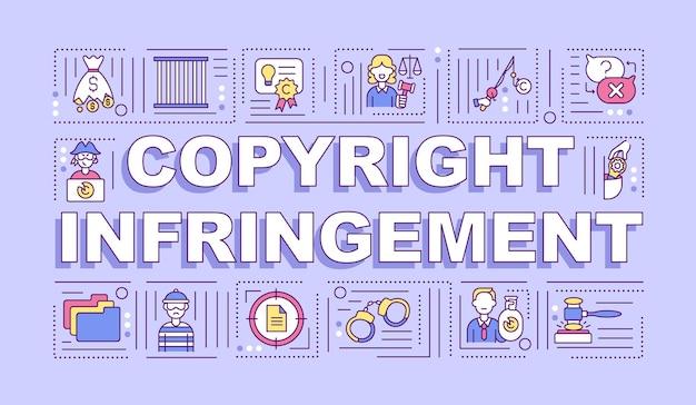Baner pojęć słowo naruszenie praw autorskich. ochrona własności intelektualnej. infografiki z liniowymi ikonami