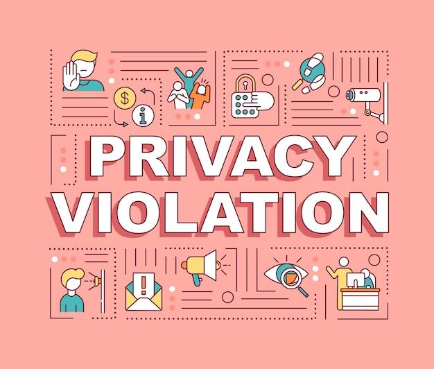 Baner pojęć słowo naruszenie prywatności. ochrona praw człowieka. inwazja na przestrzeń prywatną. infografiki z liniowymi ikonami na różowym tle. typografia. zarys ilustracja kolor rgb