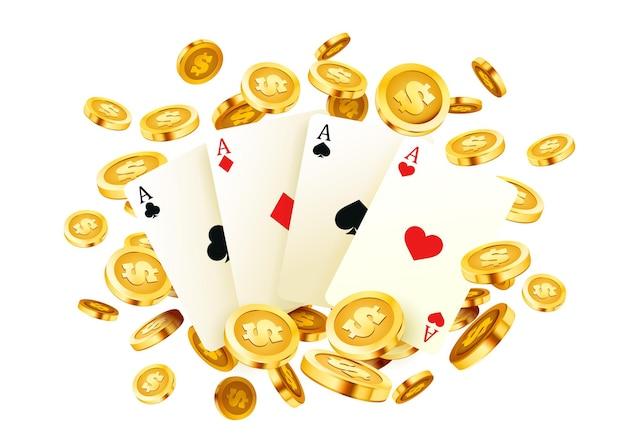 Baner pokerowy, jackpot ze złotymi monetami, okładka kasyna 3d, asy w grze na karcie