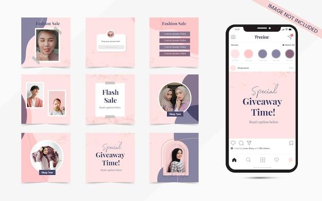 Baner postów w mediach społecznościowych do promocji sprzedaży mody na instagramie i facebooku
