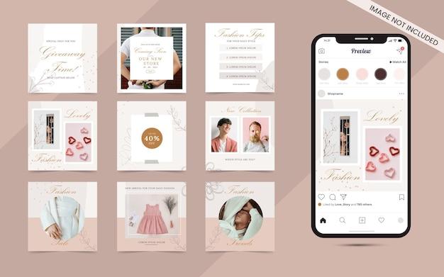 Baner postów w mediach społecznościowych na promocję sprzedaży mody na instagramie i facebooku