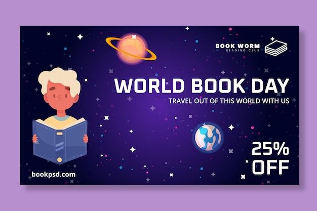 Baner poziomy światowego dnia książki