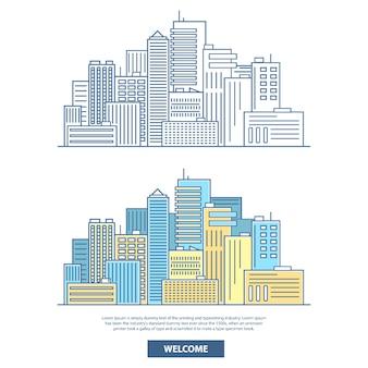 Baner poziomy wieżowce miasta. plakat podróżny z budynkami miejskimi, domami, pejzażem miejskim i miejscem na tekst. płaski liniowy styl